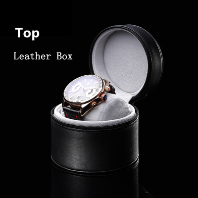Custom Fashion Pu leather round watches boxes for men/women in EECA