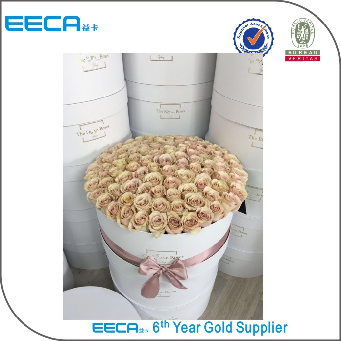 Customized logo gold hot stamping round flower cardboard gift box/recycle box packaging for flowers in EECA China
